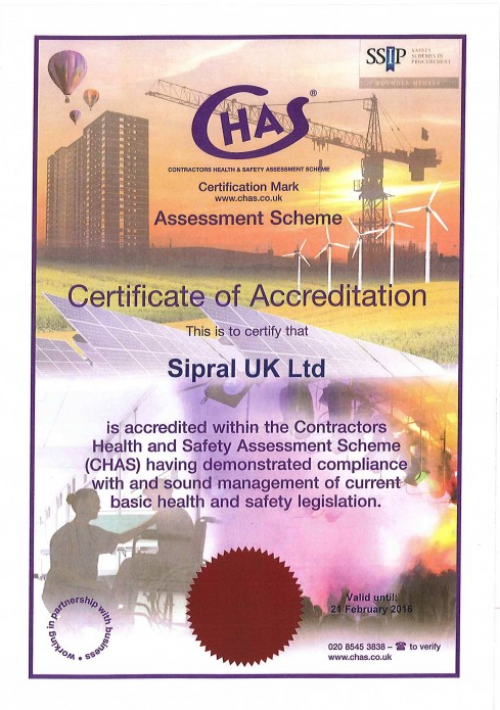 Image: Sipral UK Ltd. was awarded CHAS