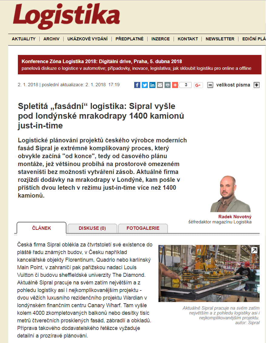 Martin Binovec on our Track&Trace system in Logistika magazine